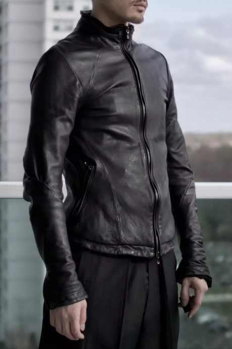 Black Lambskin washed leather jacket