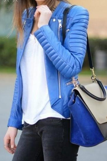 WOMEN BLUE QUILTED LEATHER BIKER JACKET