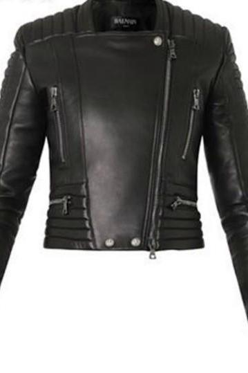 WOMEN BLACK LAMBSKIN QUILTED LEATHER BIKER JACKET