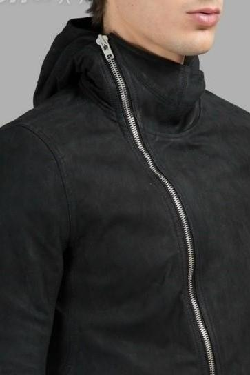 MEN BLACK LAMBSKIN HOODED LEATHER JACKET
