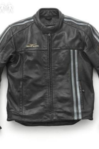 Mens Blacke Moto Guzzi Moto leather jacket