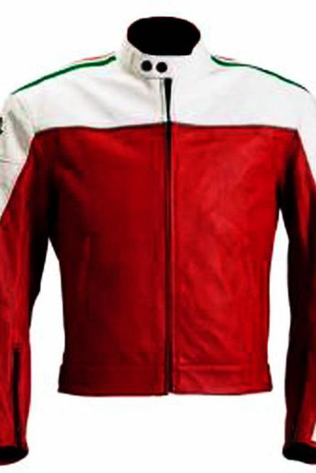 Red and White MV Augusta Leather Jacket