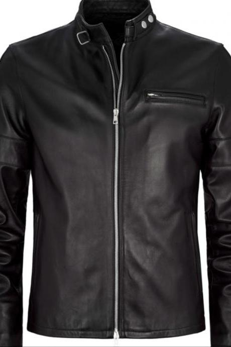 MEN BLACK MOTO LEATHER JACKET NEWl