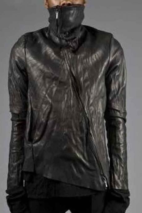 OBSCUR ASYMMETRIC ZIP HIGH NECK WASHED LEATHER JACKET